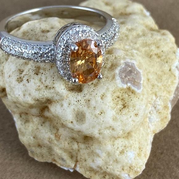 Gem Emporium Jewelry - Champagne Color Sapphire & CZ's Ring size 6
